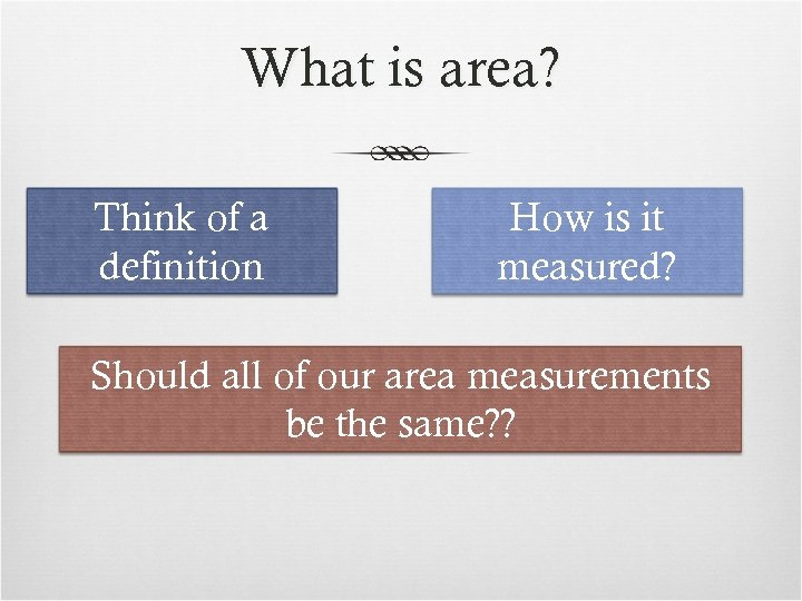 What is area? Think of a definition How is it measured? Should all of