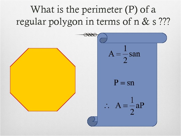 What is the perimeter (P) of a regular polygon in terms of n &