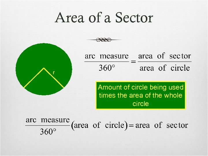 Area of a Sector r Amount of circle being used times the area of