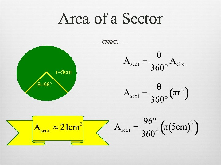 Area of a Sector r=5 cm θ=96°