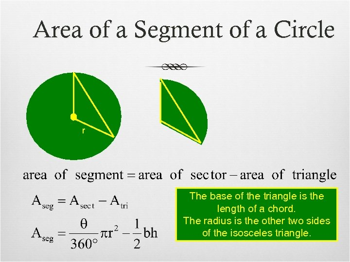 Area of a Segment of a Circle r The base of the triangle is