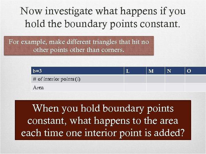 Now investigate what happens if you hold the boundary points constant. For example, make