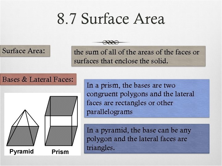 8. 7 Surface Area: Bases & Lateral Faces: the sum of all of the