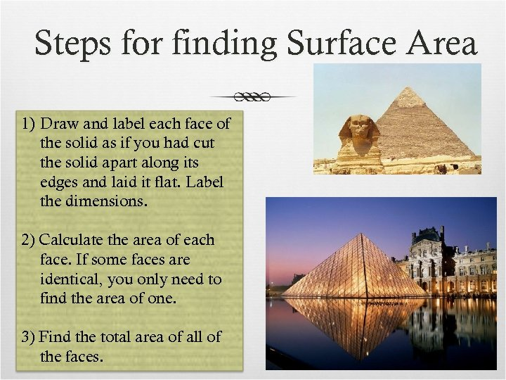 Steps for finding Surface Area 1) Draw and label each face of the solid
