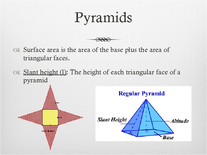 Pyramids Surface area is the area of the base plus the area of triangular