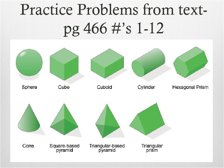 Practice Problems from textpg 466 #'s 1 -12