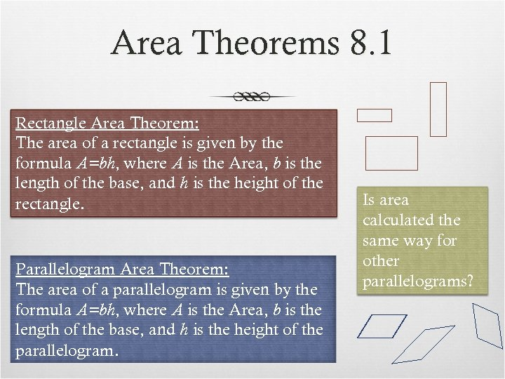 Area Theorems 8. 1 Rectangle Area Theorem: The area of a rectangle is given