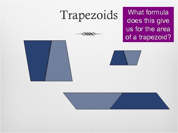 Trapezoids What formula does this give us for the area of a trapezoid?