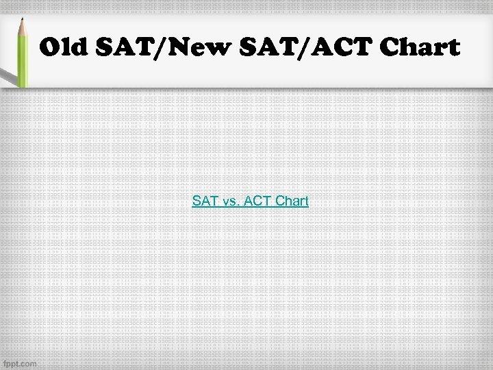 Old SAT/New SAT/ACT Chart SAT vs. ACT Chart