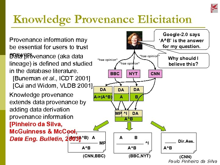 Knowledge Provenance Elicitation Provenance information may be essential for users to trust answers. Data