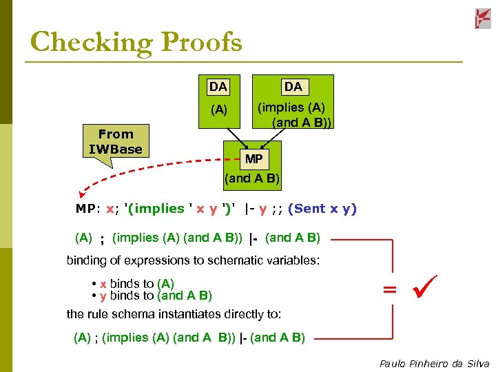 Checking Proofs DA (A) From IWBase DA (implies (A) (and A B)) MP (and