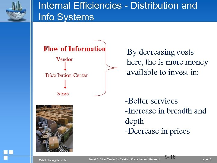 Internal Efficiencies - Distribution and Info Systems Flow of Information Vendor Distribution Center Store