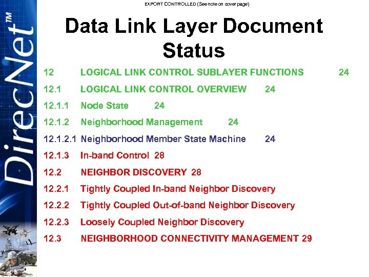 EXPORT CONTROLLED (See note on cover page) Data Link Layer Document Status 12 LOGICAL