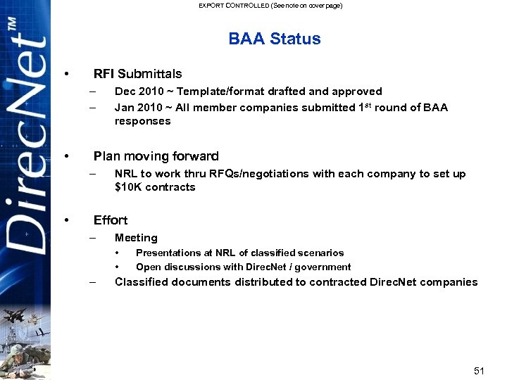 EXPORT CONTROLLED (See note on cover page) BAA Status • RFI Submittals – –
