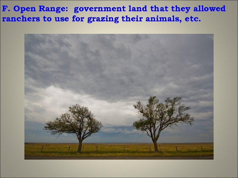 F. Open Range: government land that they allowed ranchers to use for grazing their