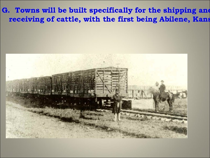 G. Towns will be built specifically for the shipping and receiving of cattle, with