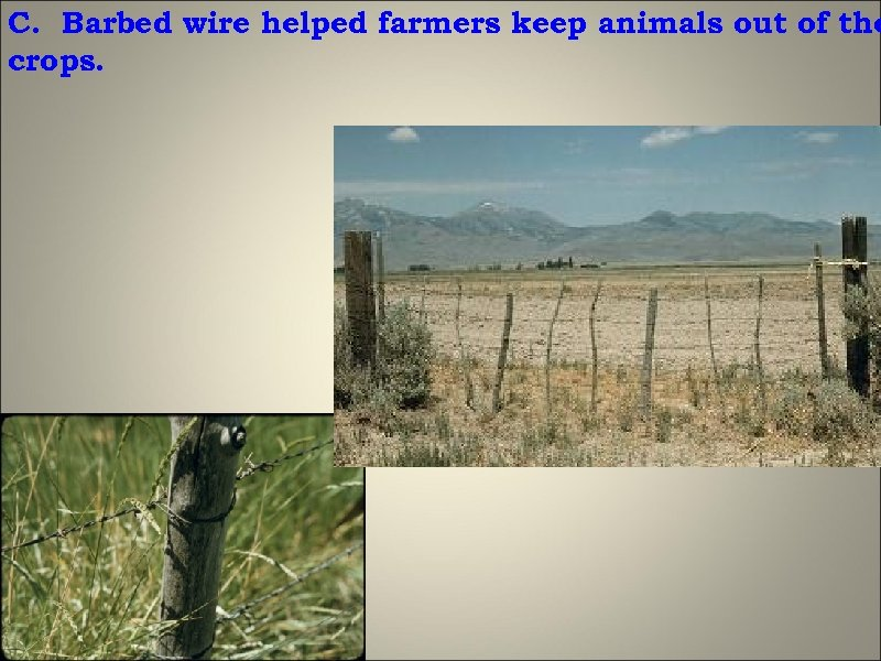C. Barbed wire helped farmers keep animals out of the crops.