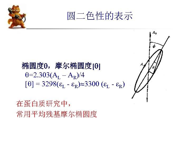 圆二色性的表示 椭圆度 ,摩尔椭圆度[ ] =2. 303(AL – AR)/4 [ ] = 3298( L -