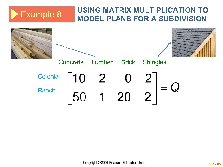 Example 8 USING MATRIX MULTIPLICATION TO MODEL PLANS FOR A SUBDIVISION Concrete Lumber Brick