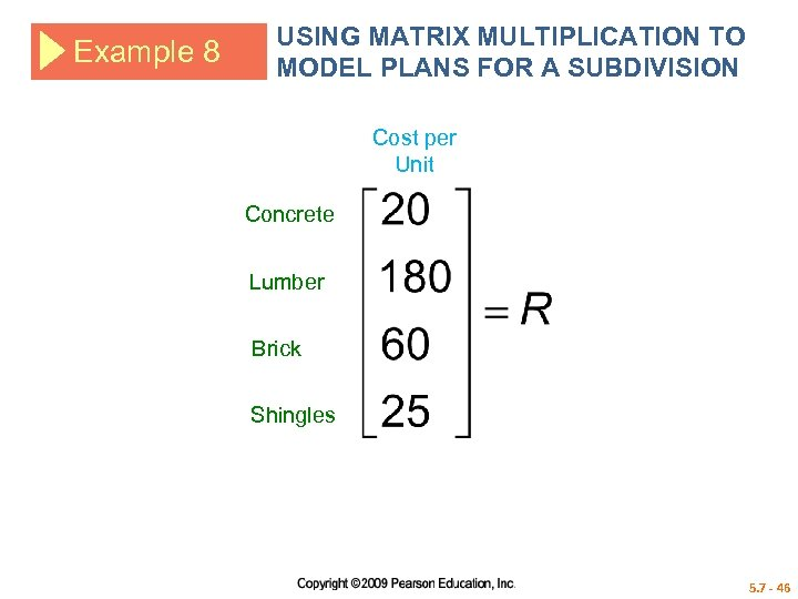 Example 8 USING MATRIX MULTIPLICATION TO MODEL PLANS FOR A SUBDIVISION Cost per Unit