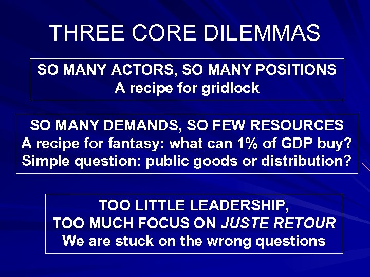 THREE CORE DILEMMAS SO MANY ACTORS, SO MANY POSITIONS A recipe for gridlock SO