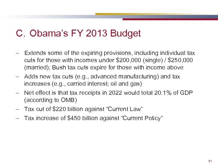C. Obama's FY 2013 Budget – Extends some of the expiring provisions, including individual