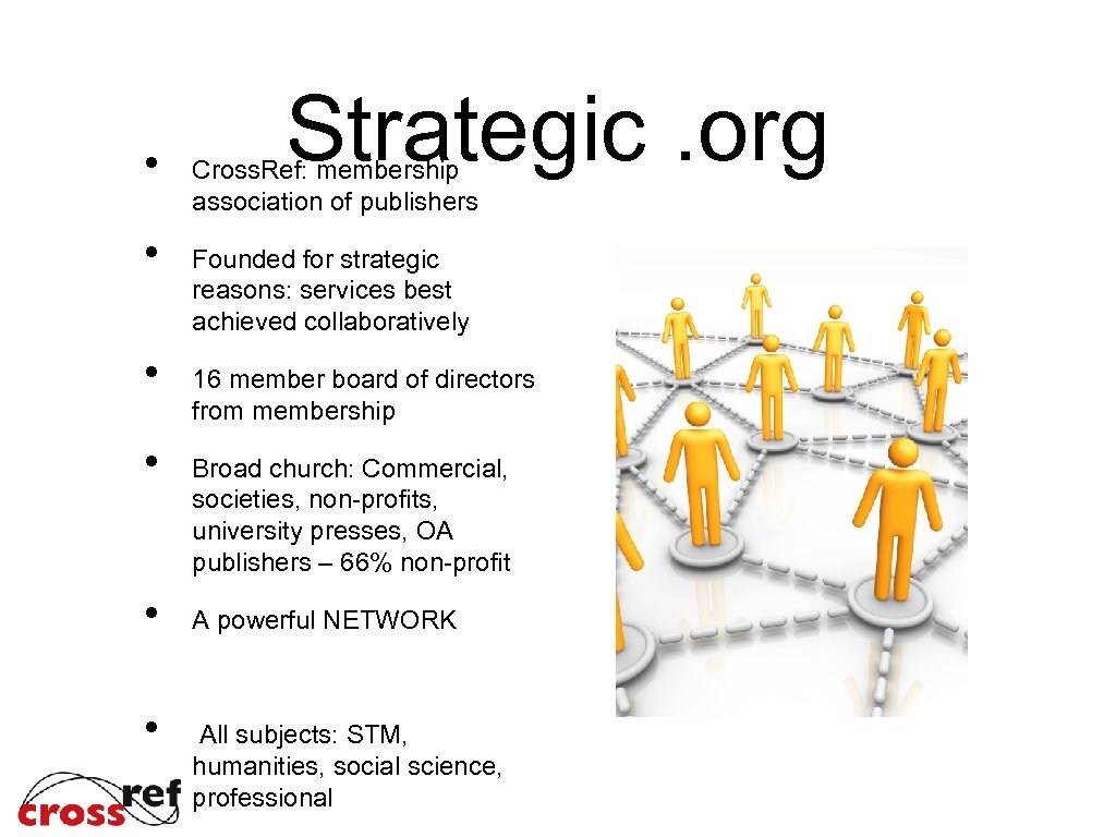 • • • Strategic. org Cross. Ref: membership association of publishers Founded for