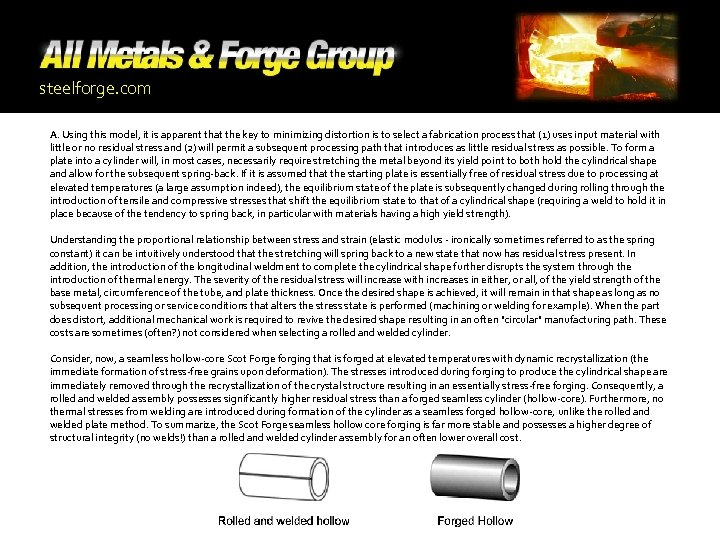 steelforge. com A. Using this model, it is apparent that the key to minimizing