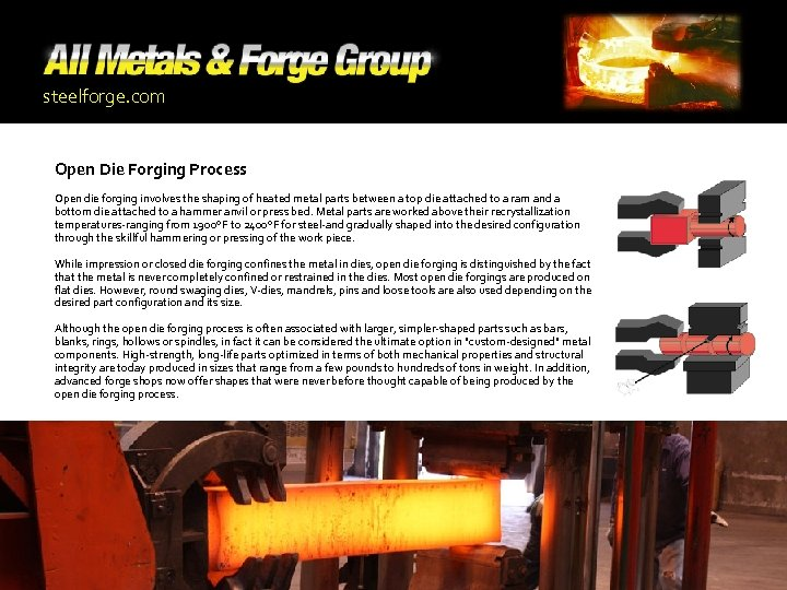 steelforge. com Open Die Forging Process Open die forging involves the shaping of heated