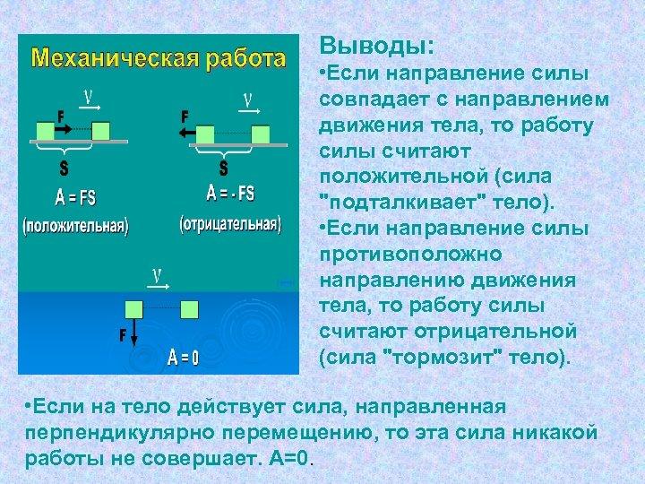 Выводы: • Если направление силы совпадает с направлением движения тела, то работу силы считают