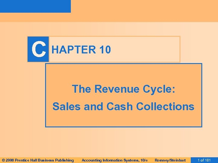 C HAPTER 10 The Revenue Cycle: Sales and Cash Collections © 2006 Prentice Hall