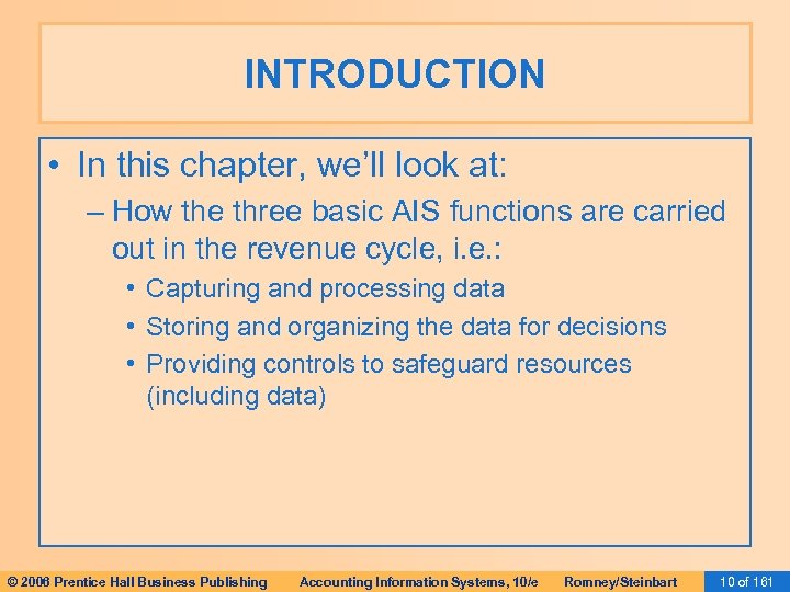 INTRODUCTION • In this chapter, we'll look at: – How the three basic AIS
