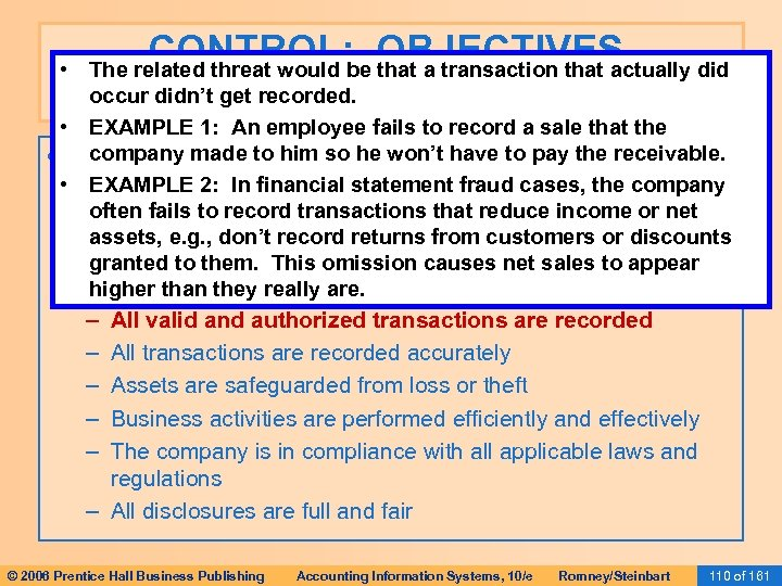 CONTROL: OBJECTIVES, THREATS, AND PROCEDURES • The related threat would be that a transaction