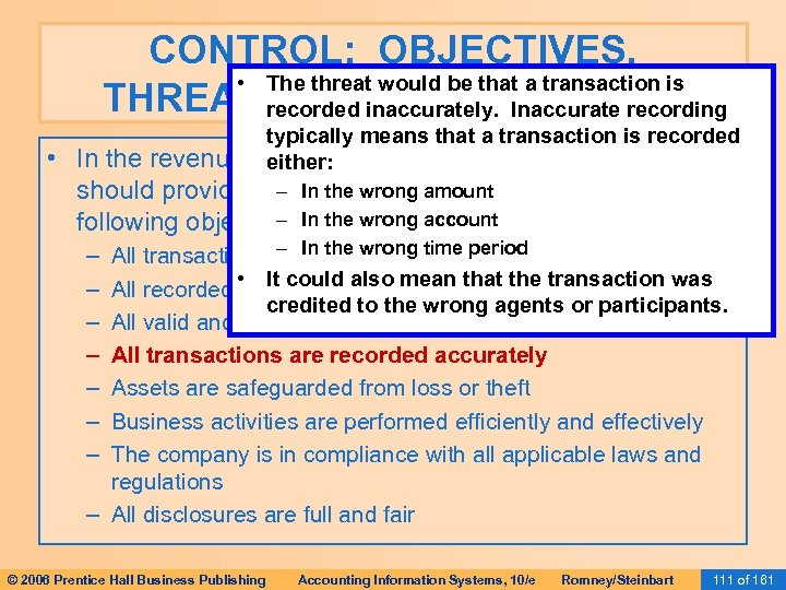 CONTROL: OBJECTIVES, • The threat would be that a transaction is THREATS, AND PROCEDURES