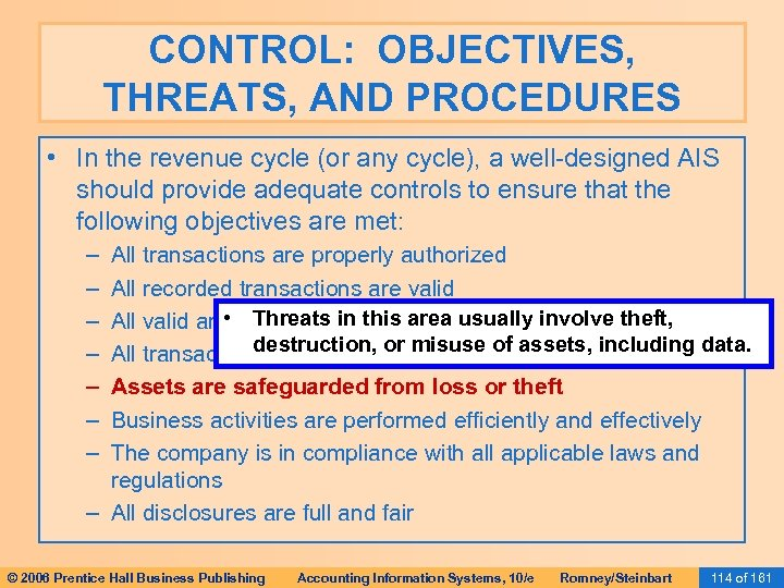threats in revenue cycle {[ documentbookmarktime ]} acct 4100 the revenue cycle threats and controls the revenue cycle notes 23 pages periodic reconciliation of invoices with sales orders picking tickets and.