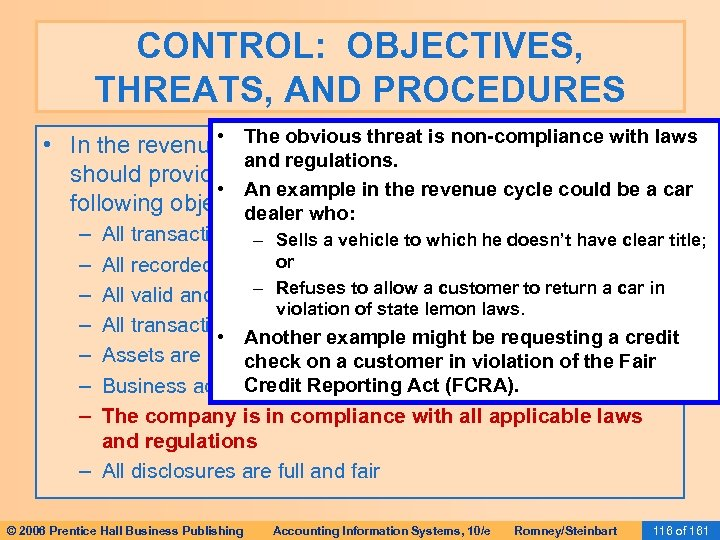 CONTROL: OBJECTIVES, THREATS, AND PROCEDURES • The (or any cycle), non-compliance with laws •