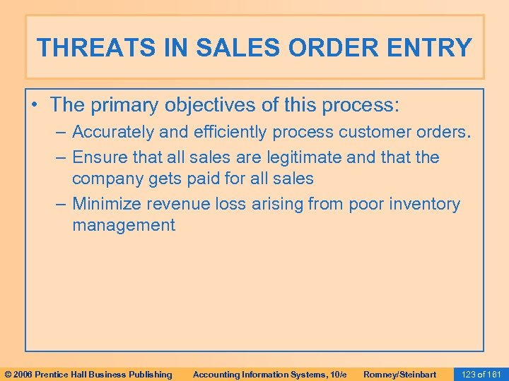 THREATS IN SALES ORDER ENTRY • The primary objectives of this process: – Accurately