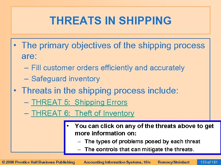 THREATS IN SHIPPING • The primary objectives of the shipping process are: – Fill