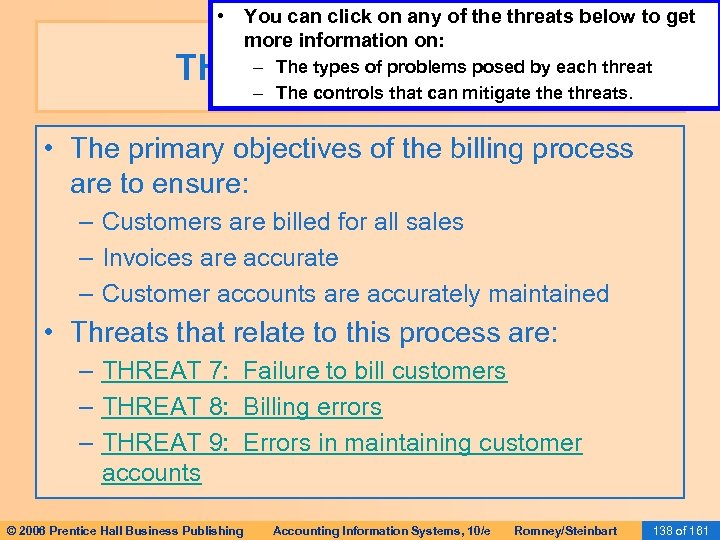 • You can click on any of the threats below to get more