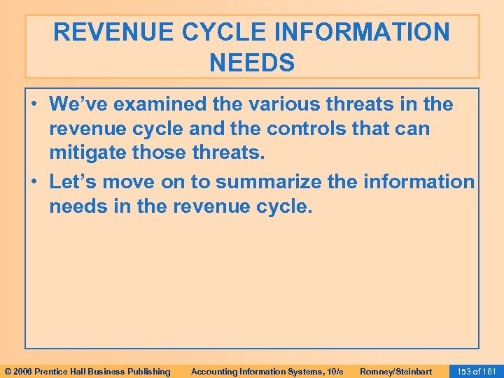 REVENUE CYCLE INFORMATION NEEDS • We've examined the various threats in the revenue cycle