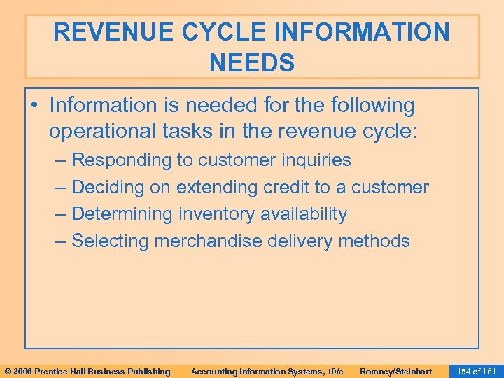 REVENUE CYCLE INFORMATION NEEDS • Information is needed for the following operational tasks in