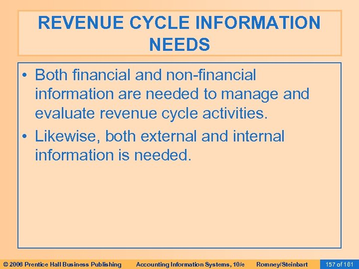 REVENUE CYCLE INFORMATION NEEDS • Both financial and non-financial information are needed to manage