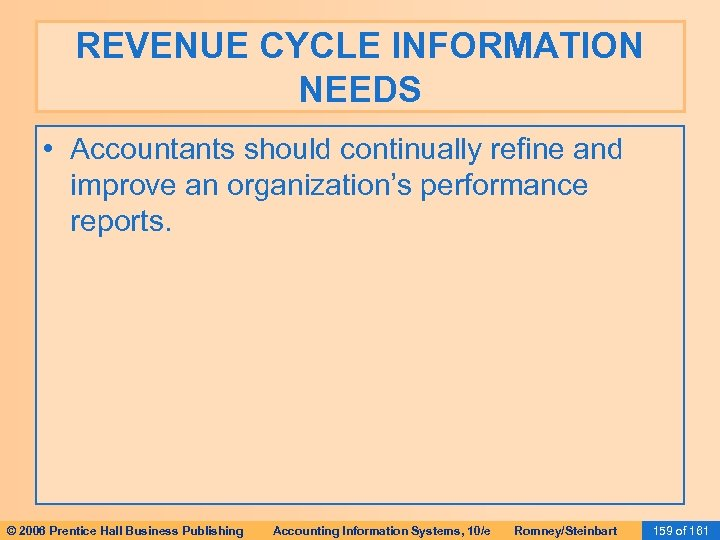 REVENUE CYCLE INFORMATION NEEDS • Accountants should continually refine and improve an organization's performance