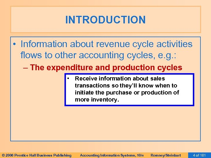 INTRODUCTION • Information about revenue cycle activities flows to other accounting cycles, e. g.