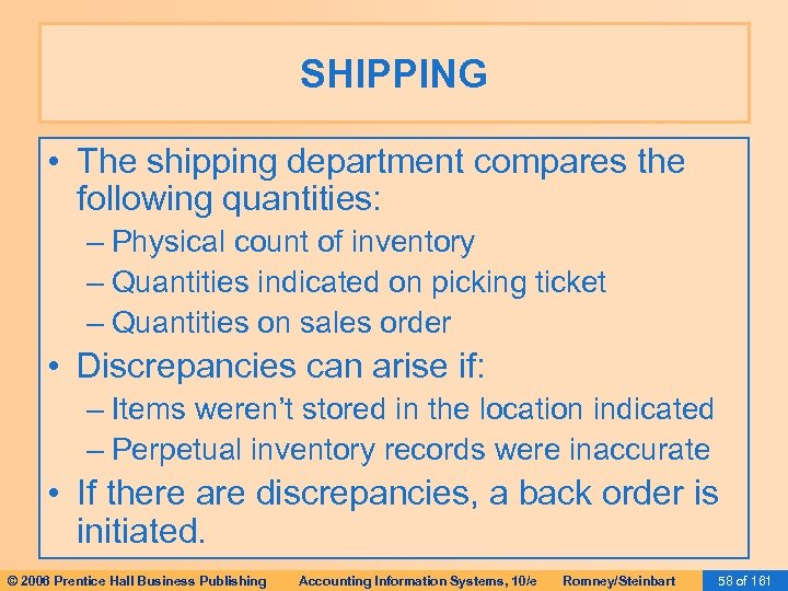 SHIPPING • The shipping department compares the following quantities: – Physical count of inventory