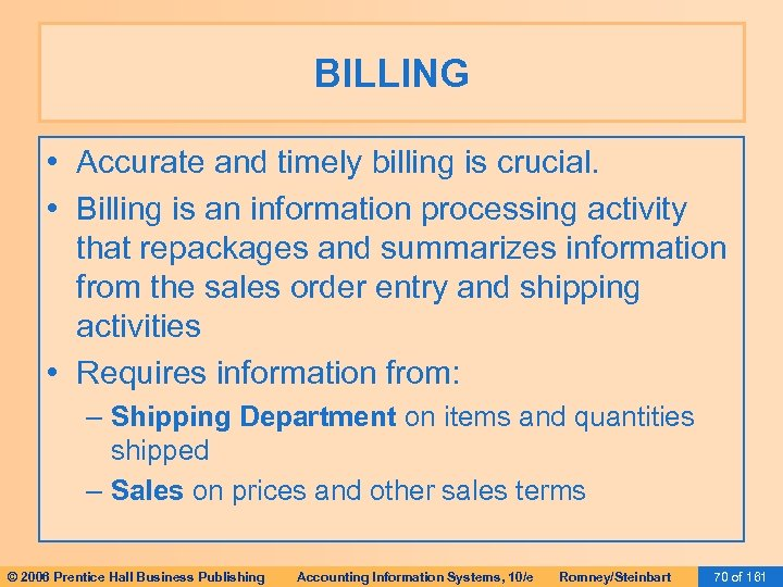 BILLING • Accurate and timely billing is crucial. • Billing is an information processing