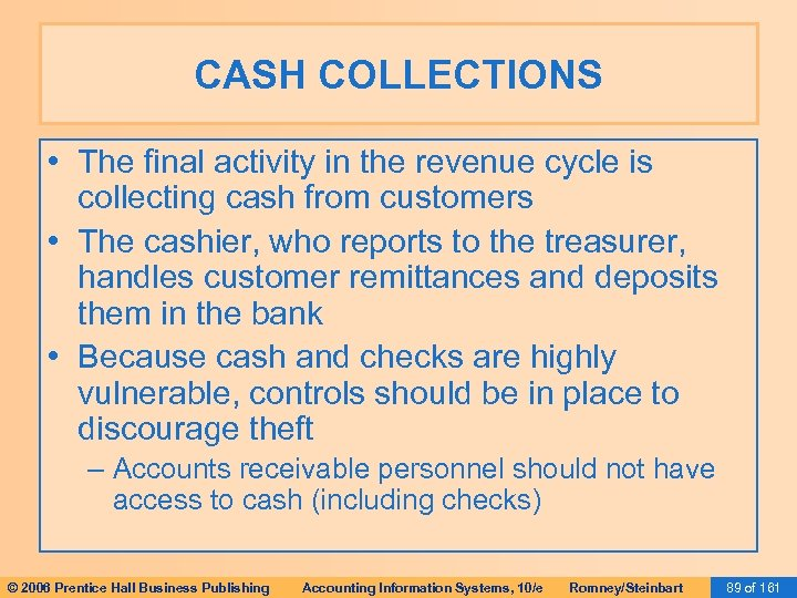 CASH COLLECTIONS • The final activity in the revenue cycle is collecting cash from