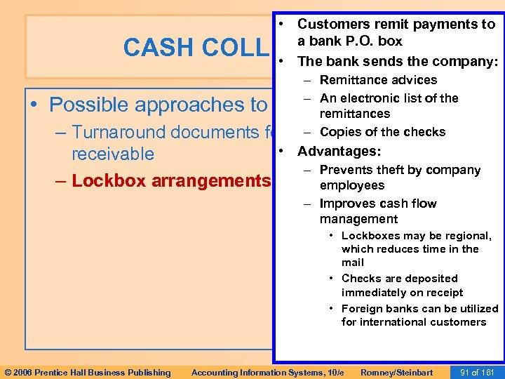• Customers remit payments to a bank P. O. box • The bank