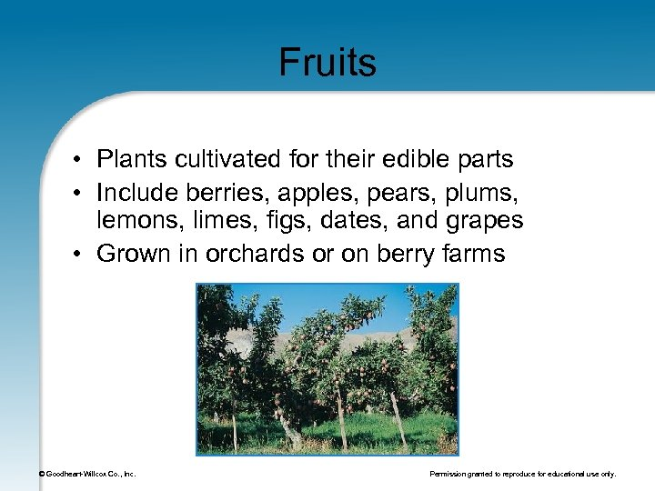 Fruits • Plants cultivated for their edible parts • Include berries, apples, pears, plums,