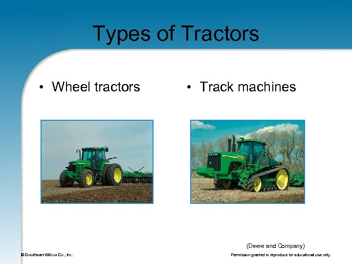 Types of Tractors • Wheel tractors • Track machines (Deere and Company) © Goodheart-Willcox